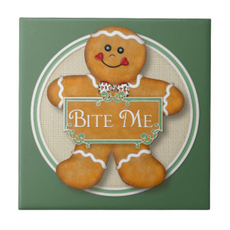 Bite Me Gingerbread Man Tiles