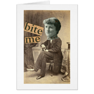 BITE ME Greeting Card Victorian Surreal Woman