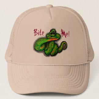Bite Me! guys hat, snake bite, boyfriend gift Trucker Hat