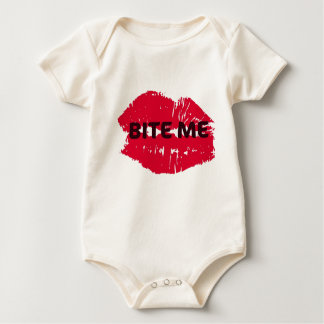BITE ME... HOT LIPS PRINT BABY BODYSUIT