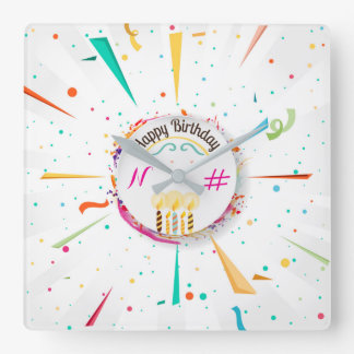 Bithday party clock with colorful confetti design