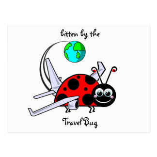 Bitten By The Travel Bug - Ladybug Airplane Postcard