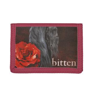 """Bitten"" Friesian Horse With Rose Tri-fold Wallet"