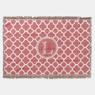 Bittersweet Red Quatrefoil Pattern Name Monogram Throw Blanket