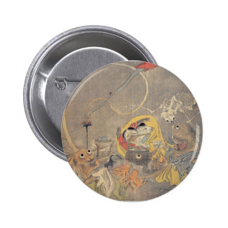 Bizarre Ancient Japanese Painting of Demons Buttons