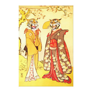 Bizarre and Beautiful Tiger Man and Wife Stretched Canvas Print