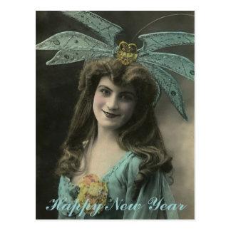 Bizarre Hat New Year Wishes Postcard