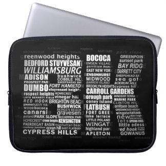 BK Brooklyn New York Typography Laptop Sleeve