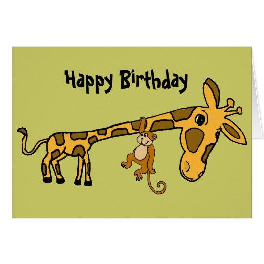 BL- Funny Monkey and Giraffe Birthday Card