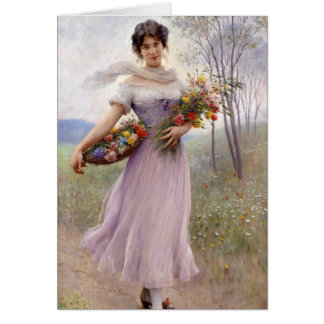 Blaas: Girl in Lilac with Flowers Card
