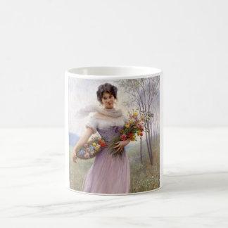 Blaas: Girl in Lilac with Flowers Coffee Mug
