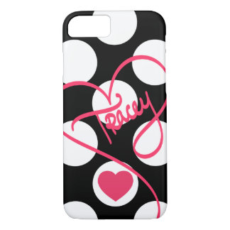 Blac & White Polka Dots Heart and Handwritten Name iPhone 7 Case