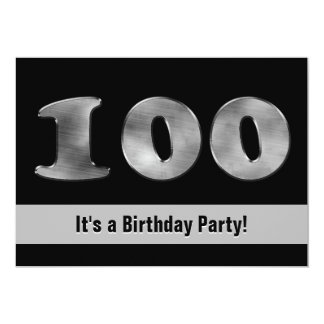 Black 100th Birthday Silver | Number 100 Card