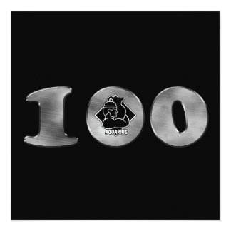 Black 100th Birthday Silver Number 100 Card