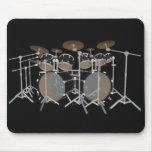Black 10 Piece Drum Kit - Black Mousepad: Drums