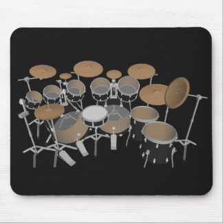 Black 10 Piece Drum Set: Black Mousepad: Drums Kit