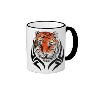 Black 11 oz. Ringer mug with tribal tiger head. Coffee Mugs