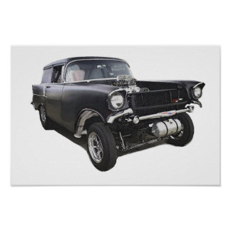 Black 1957 Chevy sedan delivery wagon gasser drag Poster