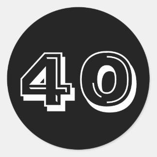 Black 40th Birthday Classic Round Sticker