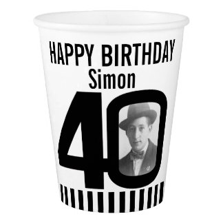Black 40th birthday custom photo paper cups