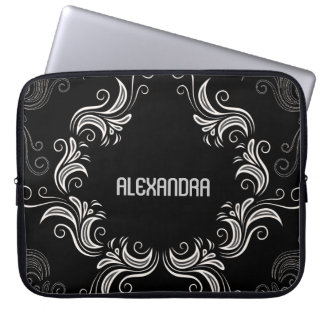 Black A& White Baroque Swirls-Monogram Laptop Sleeve