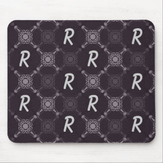 Black Abstract Monogram Mouse Pad