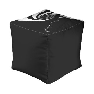 Black Abstract Pouf