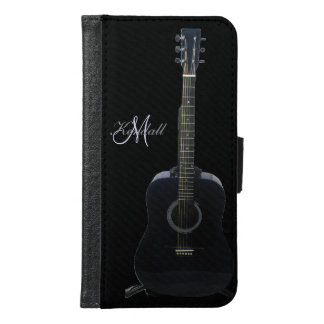 Black Acoustic Guitar Galaxy S6 Music Wallet Case