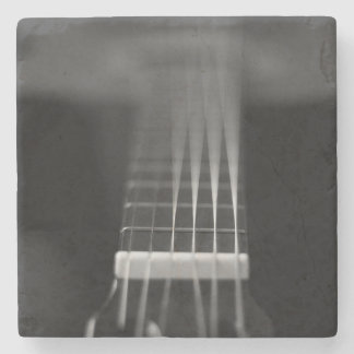 Black Acoustic Guitar Photo Stone Coaster
