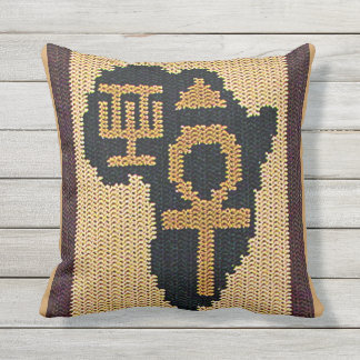 Black Africa Symbols Sandy Outdoors Brown Crochet Throw Pillow