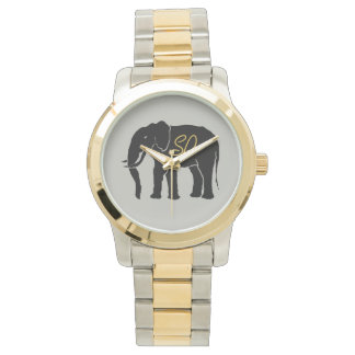 Black African Elephant Silver with Golden Initials Wristwatch