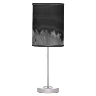Black Agate Circle swirl Cool Natural Stone Unique Desk Lamps