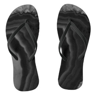 Black Agate Circle swirl Cool Natural Stone Unique Flip Flops