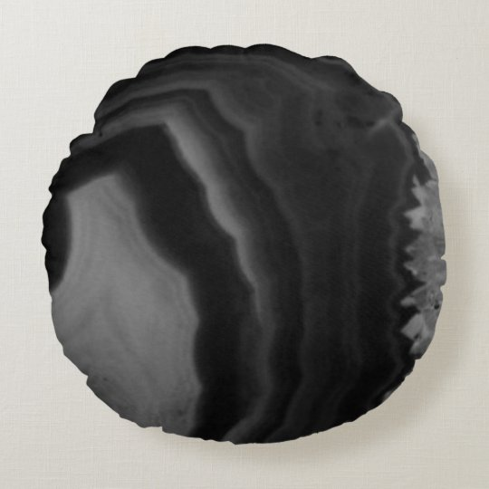 Black Agate Circle swirl Cool Natural Stone Unique Round Pillow