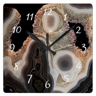 Black Agate Faux Marble Stone Gem Clock
