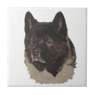 black akita with white chest dog portrait art tile