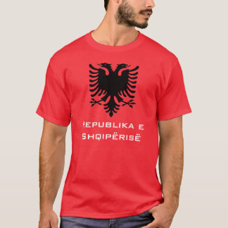 Black Albanian Eagle on Red Background T-Shirt