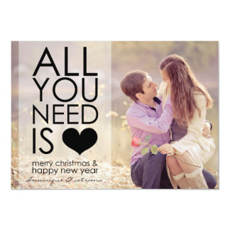 """Black All You Need Is Love Typography Holiday Card 5"""" X 7"""" Invitation Card"""