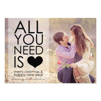 Black All You Need Is Love Typography Holiday Card