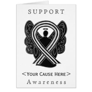 Black amd White Awareness Ribbon Angel Custom Card