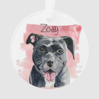 Black American Bulldog Watercolor Painting Ornament