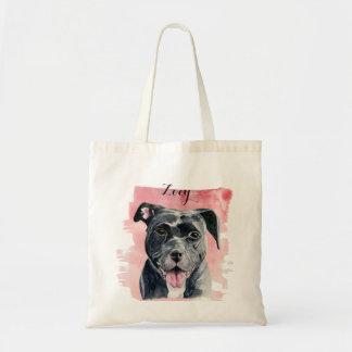 Black American Bulldog Watercolor Painting Tote Bag