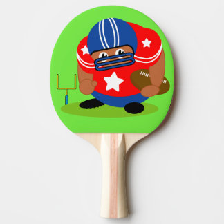 Black American football player holding a football, Ping Pong Paddle