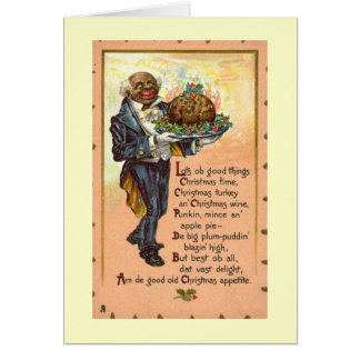 Black Americana Christmas Dinner Vintage Card