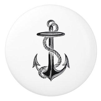 Black Anchor and Rope Nautical template Ceramic Knob