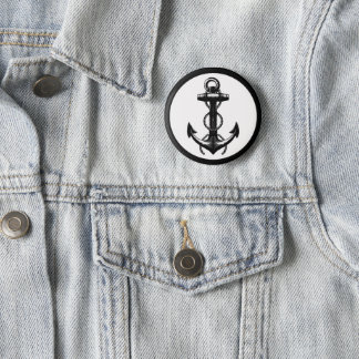 Black Anchor Double Rope 2 Inch Round Button