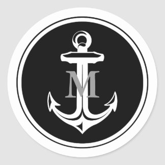Black Anchor Monogrammed Sticker