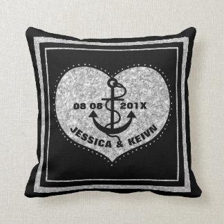 Black Anchor & Silver Glitter Heart & Border Throw Pillow