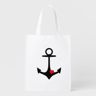 Black Anchor with heart Reusable Grocery Bag