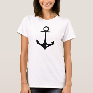 Black Anchor with heart T-Shirt